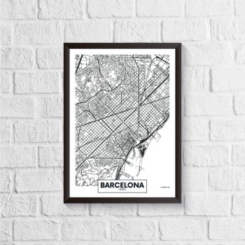 Quadro Mapa - Barcelona